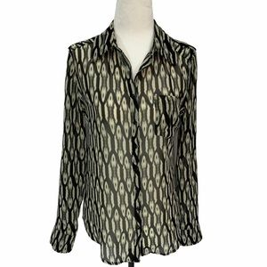 Guess Grey/Black Button Blouse Long Sleeves Small